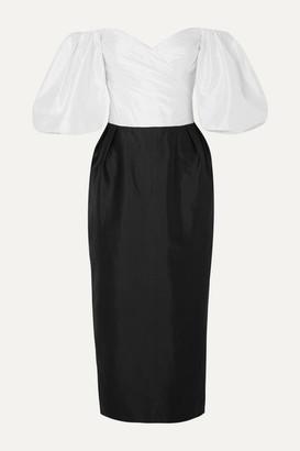 Rasario Off-the-shoulder Two-tone Silk-taffeta Midi Dress - Black