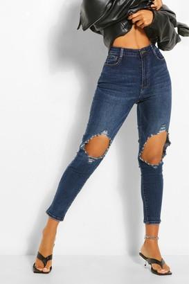 boohoo Knee Rip Distressed Skinny Jean