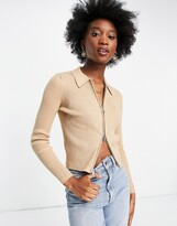 Thumbnail for your product : Pimkie zip front polo top in beige