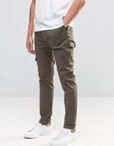 Asos Skinny Cargo Pants In Khaki