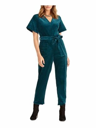 Rachel Roy Womens Teal Corduroy Zippered Bell Sleeve V Neck Party Jumpsuit Size: 14