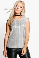 Boohoo Plus Eliza Metallic Shell Top