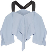 Roland Mouret Bach Asymmetric Off-the-shoulder Cloqué Top - Sky blue
