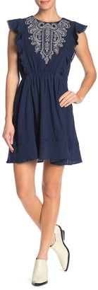 Moon River Embroidered Knit Trim Dress