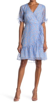 MelloDay Floral Ruffle Swiss Dot Wrap Dress