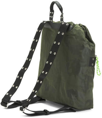 Camo Printed Nylon Drawstring Backpack