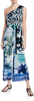 Fuzzi Mixed Print One-Shoulder Cropped Jumpsuit
