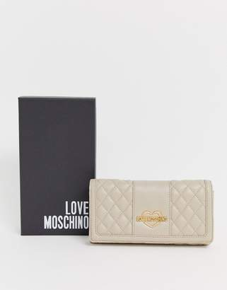 Love Moschino quilted faux leather large zip Purse-Cream