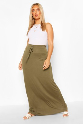 boohoo Plus Basic Tie Front Maxi Skirt