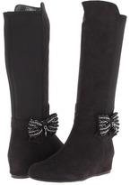 Stuart Weitzman Iselle Crystal Bow (Little Kid/Big Kid) (Black) - Footwear