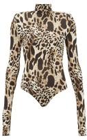 Alexandre Vauthier Lynx-print Stretch-jersey Bodysuit - Womens - Leopard
