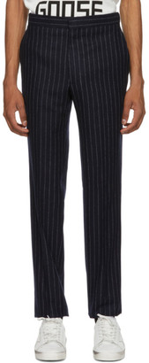 Golden Goose Navy and White Wide Stripes Trousers