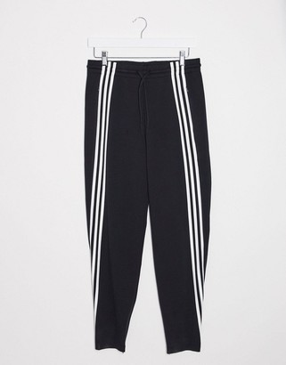 adidas Training high waisted three stripe sweatpants in black