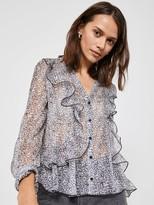 Mint Velvet Floral Ditsy Button Through Ruffle Blouse - Multi