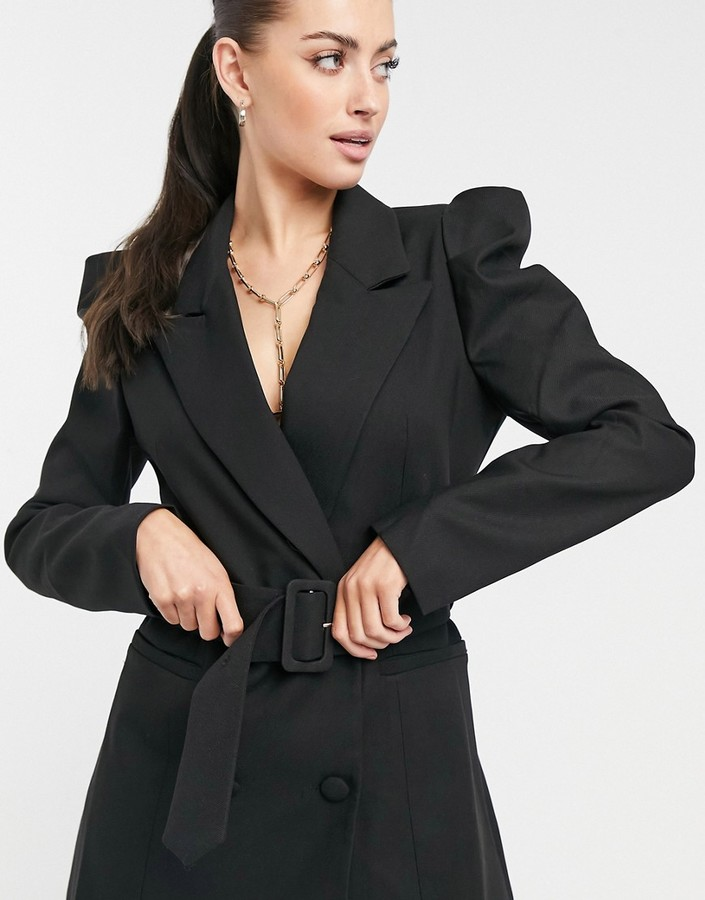Thumbnail for your product : Forever U puff sleeve blazer dress with belt in black
