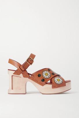 Miu Miu Printed Leather Sandals - Tan