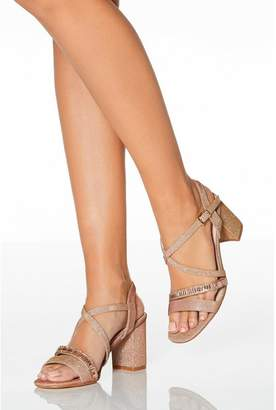 Quiz Rose Gold Shimmer Block Heel Sandals