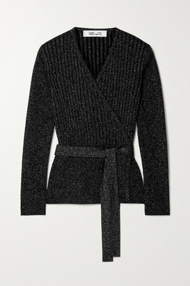 Diane von Furstenberg Bonnie Ribbed Metallic Merino Wool-blend Wrap Top - Black