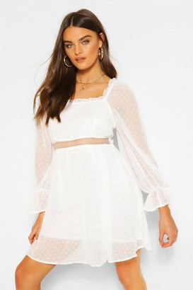 boohoo Dobby Square Neck Lace Detail Skater Dress
