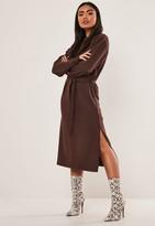 Missguided Chocolate Basic Midi Sweater Dress