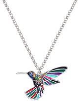Don't Ask Don't AsK Women's Necklaces Multi - Green & Silvertone Multicolor Floral Hummingbird Pendant Necklace