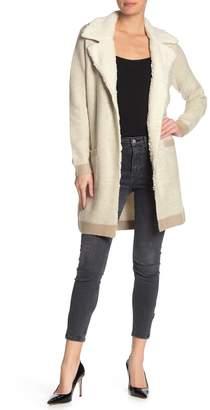 Catherine Malandrino Fleece Lined Notch Collar Sweater Coat