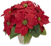 Bed Bath & Beyond Nearly Natural Poinsettia with Ceramic Vase Silk Flower Arrangement