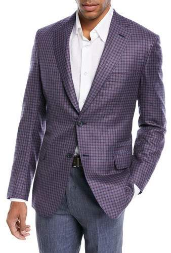 Brioni Cashmere-Silk Check Jacket