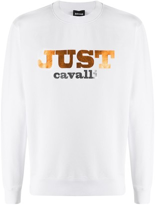 Just Cavalli Long Sleeve Printed Logo Sweater