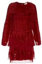 Lanvin Long-sleeved tiered sequin dress