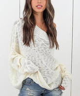 Belle De Jour Belle de Jour Women's Pullover Sweaters White - White Off-Shoulder Dolman Sweater - Women