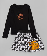 Beary Basics Black Initial Pumpkin Tee & Chevron Skirt - Toddler & Girls