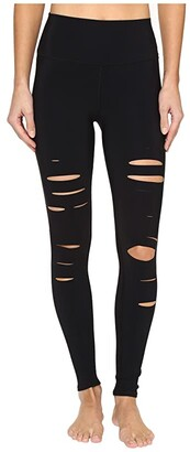 Alo Ripped Warrior Leggings (Black) Women's Casual Pants