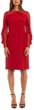 R & M Richards Illusion-Sleeve Dress