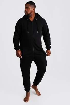 BoohoomanBoohooMAN Mens Black Big & Tall Zip Through Hooded Onesie, Black