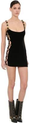 Fausto Puglisi Side Cut Out Velvet Mini Dress