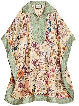 Gucci Floral-Print Silk Twill Caftan Dress