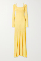 Jacquemus Valensole Off-the-shoulder Pleated Stretch-knit Maxi Dress
