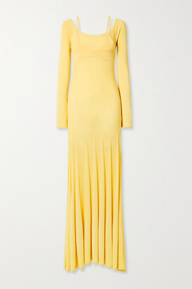 Jacquemus Valensole Off-the-shoulder Pleated Stretch-knit Maxi Dress - Pastel yellow