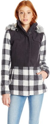 Celebrity Pink CelebrityPink Juniors' Plaid Wool Coat with Hood