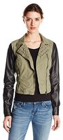 New Look Women's Twill Faux Leather Mixed Moto Jacket with Studs