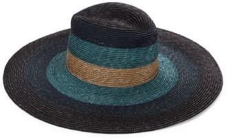 Raffaello Bettini Sewn Colorblocked Straw Wide-Brim Hat