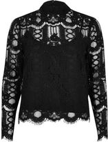 River Island Womens Black high neck lace blouse