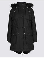 M&S Collection PETITE Faux Fur Padded Parka with StormwearTM