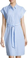 Neiman Marcus Striped Lace-Inset Shirtdress, Blue/White
