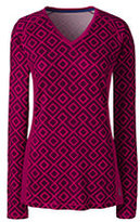 Lands' End Women's Active Long Sleeve V-neck T-shirt-Oyster Blush Blossom