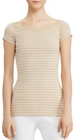 Lauren Ralph Lauren Off-the-Shoulder Stripe Tee