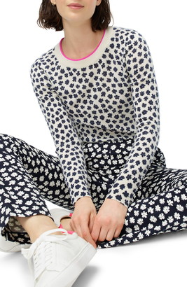 J.Crew Scattered Daisies Print Cashmere Crewneck Sweater