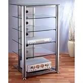 VTI RGR-406 6 Shelf Silver Glass Audio Rack - Silver Frame / Clear Shelves