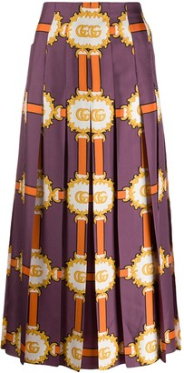 Gucci Printed Pleat Midi Skirt